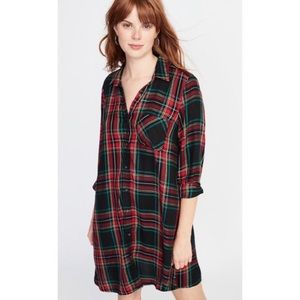 OLD NAVY Black Red Plaid Black Flannel Shirtdress